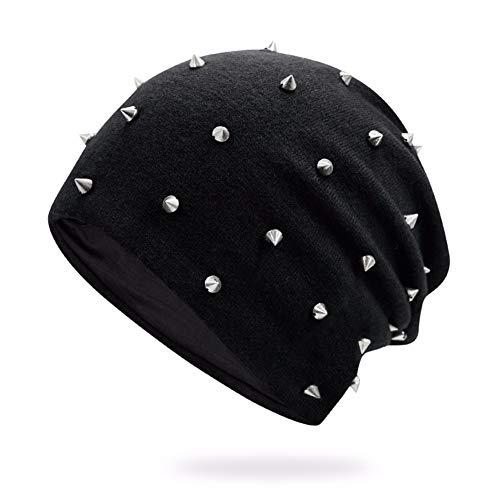 Baumwolle Kapuzen-mütze (MZ Hüte, Männer und Frauen, Herbst und Winter, Nieten, Nähen, Kapuze, Mütze, Kopfbedeckungen, Winddichte Kapuze, warme Wollmütze, schwarz)