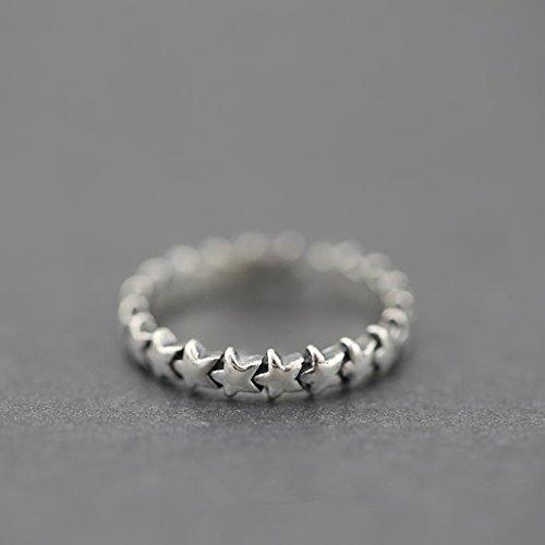 &qq Anelli,Carino a cinque punte anello stella modellazione, S925 anello in argento sterling, anello regolabile dimensioni, gioielli, regali