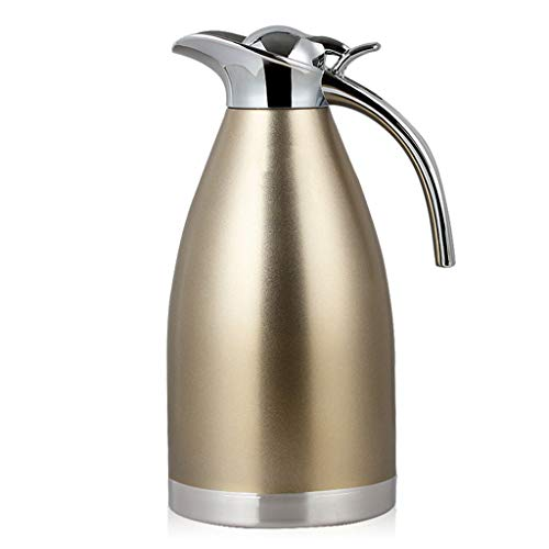 Milch-kessel (HQSB isolierkanne, 2L Edelstahl-Doppelwand-Vakuumkrug Thermos Kessel-Haushalt für Saft/Milch/Tee/Kaffee (Farbe : Champagne Gold))