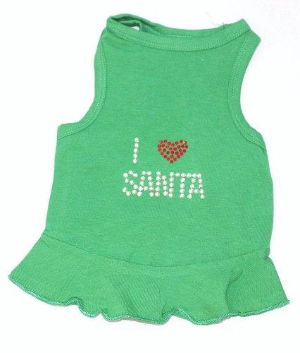 Grüner Urlaub Weihnachten Hund T-shirt (Der Hund Squad I Love Santa Kleid Weihnachten T-Shirt für Haustiere, klein, grün)