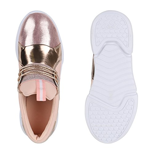 Damen Sportschuhe Runners Lack Metallic Laufschuhe Sneakers Rose Gold Metallic Weiss