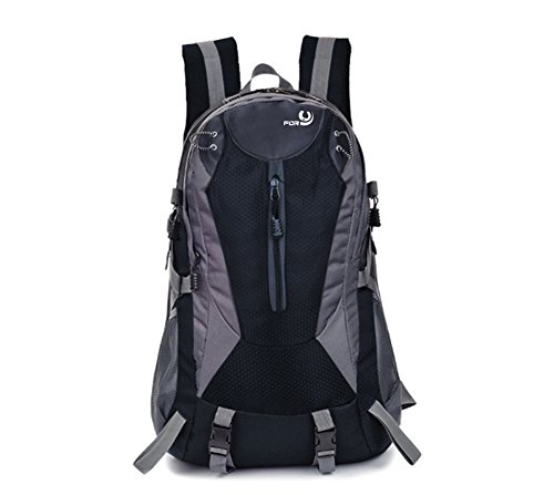 FORU 40L Hiking Backpack Multi-Functional Climbing Camping Rucksack Waterproof Sport Bag Black Outdoor Trekking 15 Inch Laptop Packs