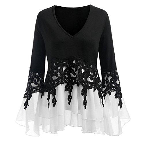 VJGOAL Damen Bluse, (38-46) Damen Mode Applique Patchwork Flowy Chiffon V-Ausschnitt Langarm Casual Party Bluse Tops (Schwarz, 38) (Halloween-party-ideen Für Die Grundschule)