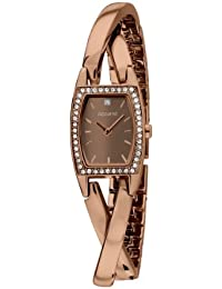 Accurist Women's Quartz Watch with Brown Dial Analogue Display and Rose Gold Plated Stainless Steel Bracelet Lb1637Br