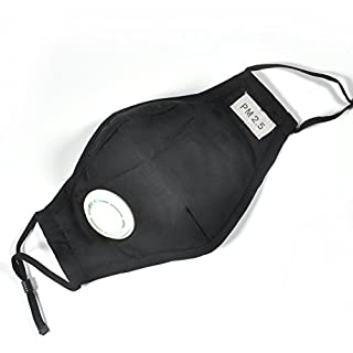 Haze Face Mask, Dust Mask, Reuseable Mouth Mask with Exhalation Valve and 4 Filter Replacements ( Color : Black )