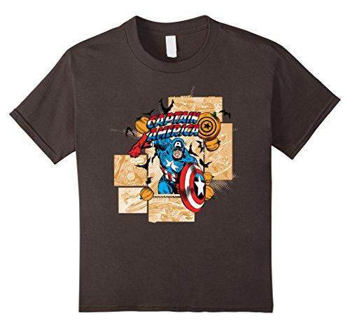 (Marvel Kids Captain America Halloween Comic Panel Retro T-Shirt 4 Asphalt)