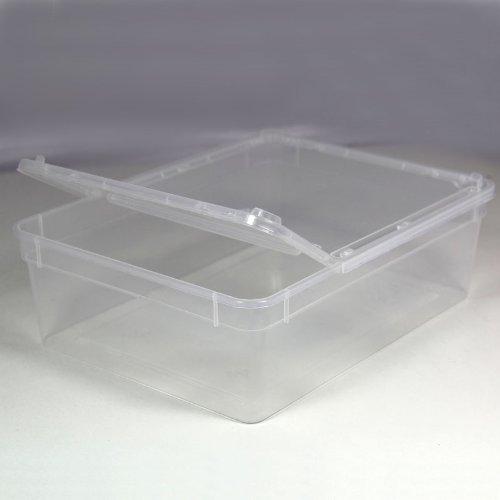 BraPlast Dose 3,0 Liter 24,5 x 18,5 x 7,5 cm - transparent mit transparentem Deckel/Kunststoff Stapelbox