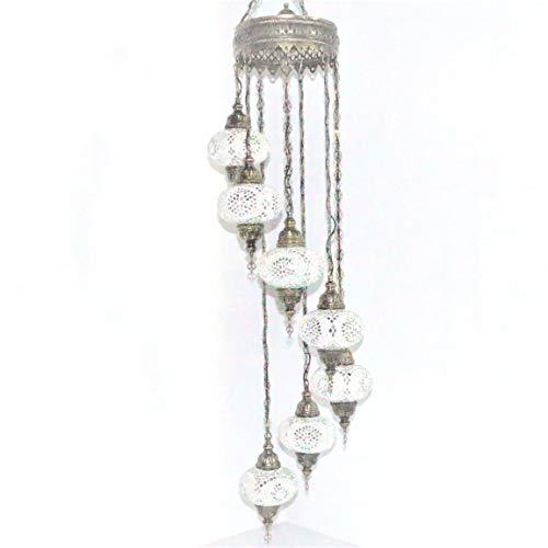 Pendant Lights & Ceiling Chandeliers - Handmade Turkish Mosaic Style Multicoloured Mosaic Hanging Spiral Lantern, 7 Large Globe