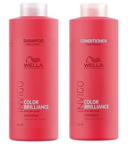 Wella Professionals Brilliance Duo Color Shampoo 1000ml und Conditioner 1000ml für Haar/dickes Haar