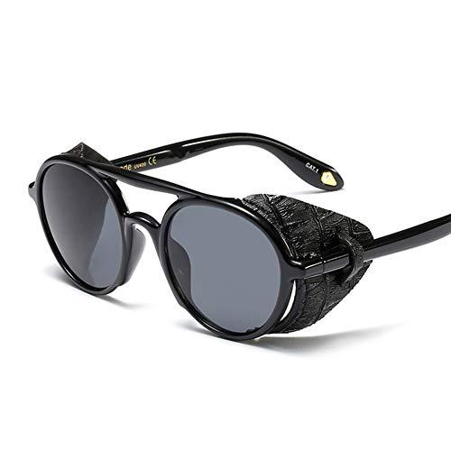 Retro Runde Sonnenbrille Steampunk Brille, Geeignet für Männer und Frauen, UV400-Schutz, Harzlinsen Leder Seitenschutz,Black