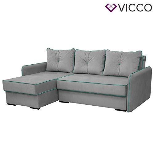 Vicco Ecksofa Kansas Schlaffunktion Grau - Couch Schlafsofa Bett Eckcouch Sofa (Linke Ausführung)