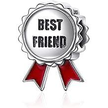 Mejor amigo regalos de Navidad Fashion joyas 925cuentas de plata de la medalla de amistad encantos para pulseras