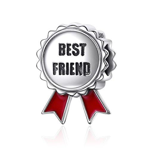 Best friend bigiotteria in argento sterling 925perline la medaglia di amicizia ciondoli christmas gifts adatto per braccialetti europei