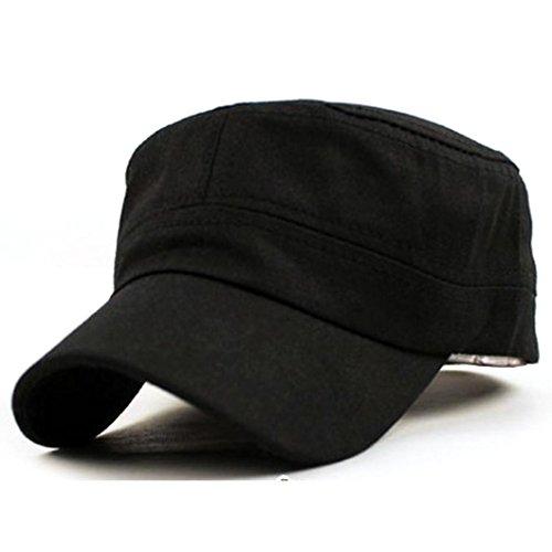 Lanspo Klassische Plain Vintage Army Military Cadet Style Cotton Cap Hut Verstellbare Cap - Cap in Military-Unisex Cap (Schwarz)