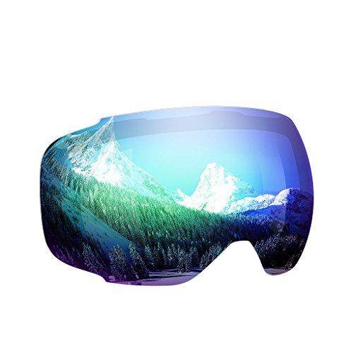 Enkeeo - Lentes Desmontable para gafas de esquí, con 100% UV400 protección para esquiar, Snowboard Patinaje sobre nieve y los Deportes de invierno (Lentes de Repuesto, Verde)
