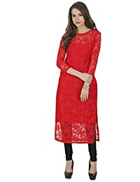 The Bebo Red Pure Nylon Net Straight Elegant Kurti For Womens & Girls