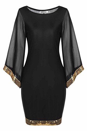 Meaneor Damen Abendkleider Partykleid mit Pailletten an Ärmeln und Saum Rundhalsausschnitt slim fit...