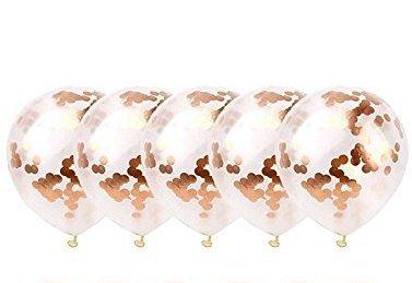 Newin Star Globos de confeti de oro de 30 cm con purpurina de látex para boda, graduación, oferta, baby shower, niña, adultos, fiesta de cumpleaños, decoraciones, 5 unidades
