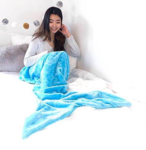 Ataya Meerjungfrau Decke für Mädchen Erwachsene FlosseKuscheldecke Glitzernde Fischschwanz Mikrofaser Flanell Fleece alle Jahreszeiten Schlafsack(prägen Blau)