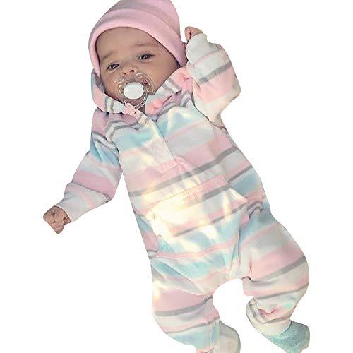 Baby Strampler Frühchen,Covermason Neugeborenes Säuglingsbaby Junge Mädchen Spielanzug Strampler Mit Kapuze Bunt Gestreift Overall Jumpsuit Kleider (0-6M, Mehrfarben)