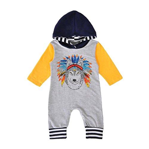 JERFER Neugeborenen Jungen Mädchen Indische Wolf Hoodie Strampler Overall Outfits Kleidung 6-18M (Grau, 12M)