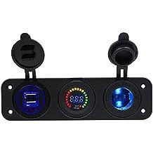TurnRaise Cargador USB de coche moto Triple 4.1a + voltímetro LED 12V/24V encendedor toma tres orificio Panel para iPhone Samsung Tablet