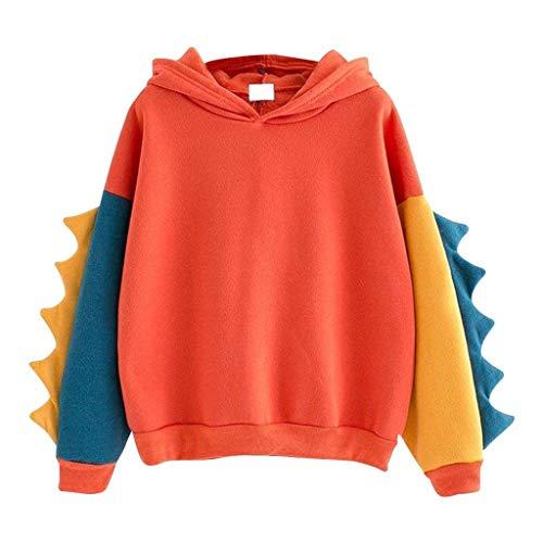 Büro Dinosaurier Im Kostüm - Beikoard Frauen Sweatshirt Beiläufiges Loses langärmliges Hoodie Spleißen Sie Dinosaurier Tops Sportlicher Pullover