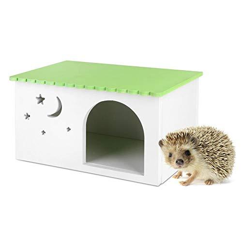 Hffheer Box per porcospino Bordo plastica Legno Casetta per la Simulazione di criceti Casetta per Simulazione Ecologica Gabbia per Animali Domestici