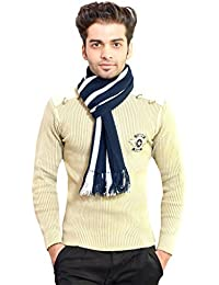 513 Vertical striped navy & white winter soft and warm men's muffler