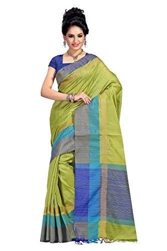 Fabattic Tassar Silk Saree (Chi16564H_Green)