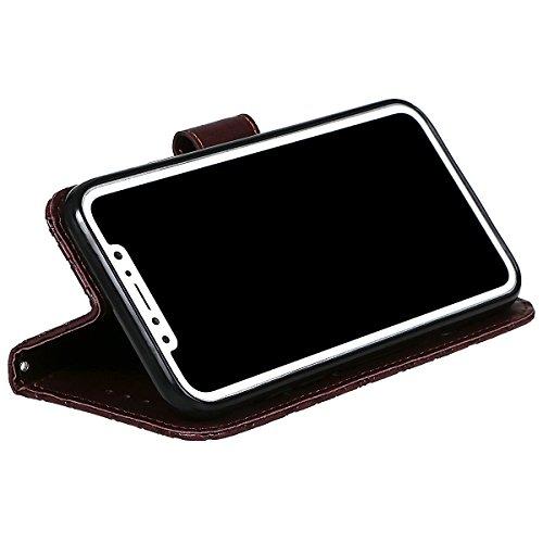 xhorizon MLK Imprimés Fleurs faux cuir Flip Support magnétique Étui à cartes pour iPhone X / iPhone 10 avec un stylet Café +9H Glass Tempered Film