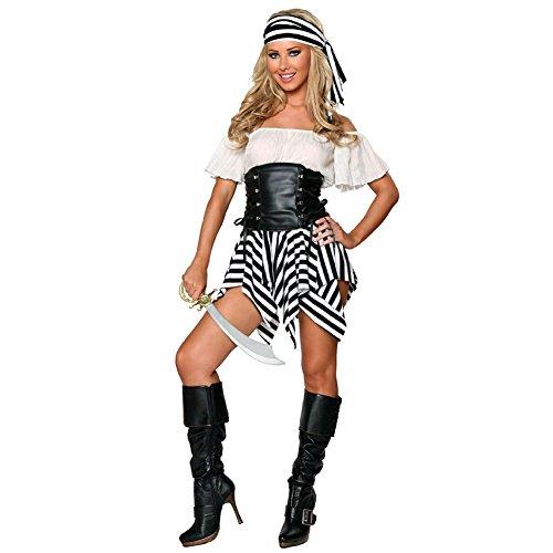 Kostüm Weiblich Piraten - JYY Weiblicher Pirat Kostüm Halloween Rollenspiel Party Cosplay Anime Kostüm Dessous, Geeignet Für 40-60 Kg Frauen,Black-OneSize