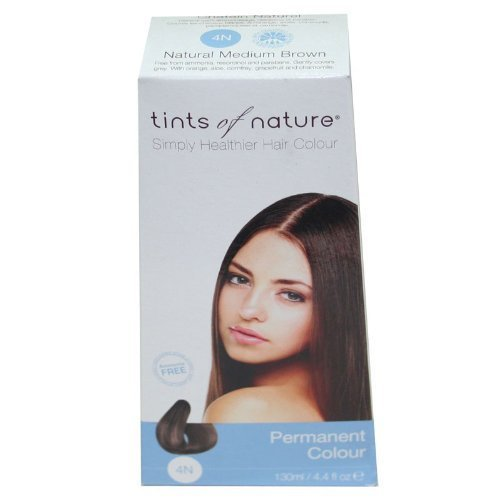 Tints of Nature Organic 4N Natural Medium Brown Permanent Hair Colour 130ml by Herb Uk Ltd
