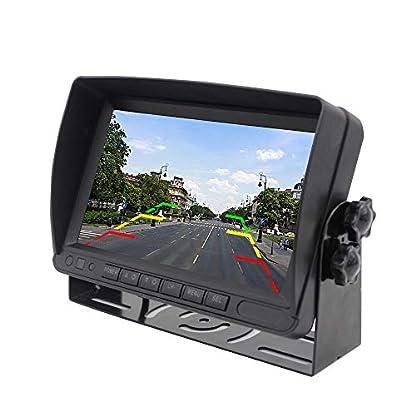 SUN-Drahtlose-Auto-Rckfahrkamera-2-x-7-wasserdichtes-Rckfahrkameras-Einparkhilfesystem-mit-Zwei-geteilten-Bildschirmen-fr-LKWs-Wohnmobile-Anhnger-Busse