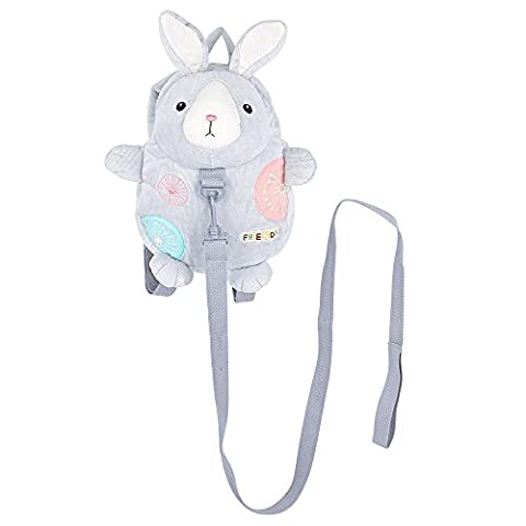 Safety Harness Backpack, BELK [Light Travel] 2 in 1 Tether & Stuffed Animal Toddler Bag with Detachable Leash, [Anti Lost] Baby Boy Little Girl Nursery Daypack, Grey Rabbit
