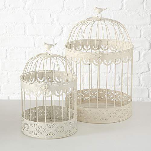 Home Collection - Set di 2 Gabbie Decorative per Uccelli, in Metallo, Altezza 30-39 cm, Colore: Bianco Crema