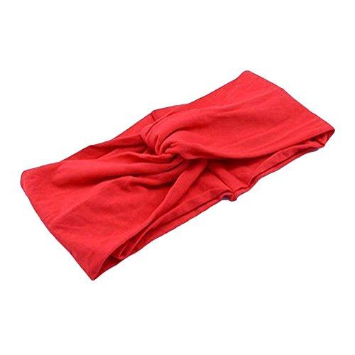 TINNINA Elastica Cross Bowknot Sport Yoga Banda capelli Fascia per capelli Accessori del capelli Copricapo Cerchietti per le donne ragazze Rosso