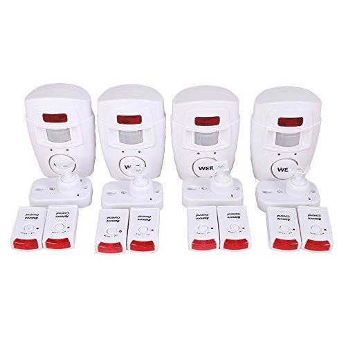 [4 Stück] WER Hausalarm Bewegungsmelder Alarmanlage Bewegungssensor + 2 Fernbedienungen, drahtlose PIR Infrarot Security, Alarm mit Bewegungserkennung Alarmmelder Funk (4 Stück)