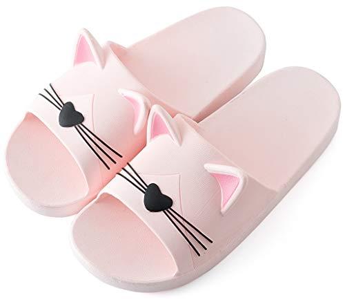 Saldgoiz Damen Herren Dusch- und Badeschuhe Badelatschen Badeschlappen Sommer Hausschuhe Slides Badesandalen Strand Pantoletten Schuhe Pink(Cat) 37/38 EU/38-39CN -