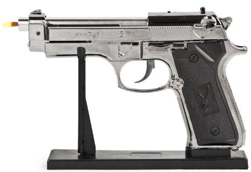 Nick and Ben Feuerzeug-Pistole aus Metall großes Gasfeuerzeug Silber realistisch mit Ständer Maßstabs-Getreu -