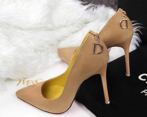 Zapatos Minetom Minetom Para Mujer Zapatos De Tacón De Aguja Con Tacón De Aguja Simple Zapatos Elegantes Con Tacón De Aguja En Color Caqui