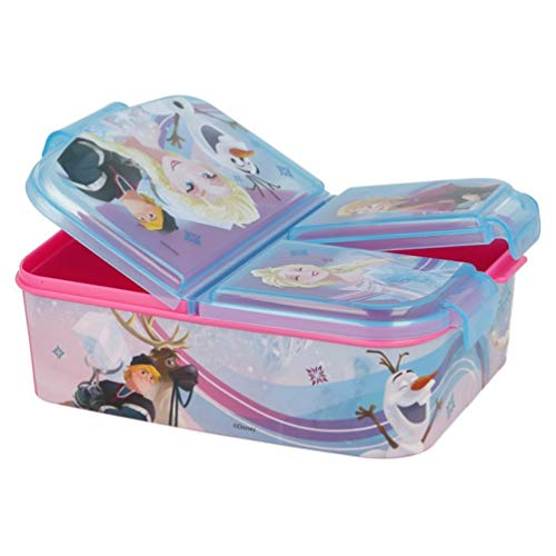 Disney Frozen - Die Eiskönigin Anna und Elsa Kinder Premium Brotdose Lunchbox Frühstücks-Box Vesper-Dose mit 3 Fächern BPA-FREI