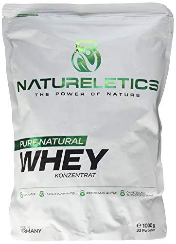 NATURELETICS 1kg 100{2f6465305c6da2830813be484a05faceef8a11bd5559d6972ded804d36295910} natürliches, Premium Whey Protein aus Deutschland, neutral, ohne Zusatz von Zucker, Süßstoffe und Aromen, Eiweißpulver mit hohem BCAA Anteil von 22{2f6465305c6da2830813be484a05faceef8a11bd5559d6972ded804d36295910}, Geschmacksneutral