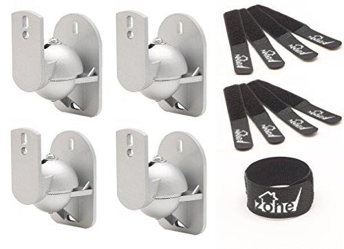 Techzone 4Stück Heavy Duty Winkel einstellbar Universal Wandhalterung Lautsprecher Klammern mit 8Klettverschluss Kabelbinder gurthalteband–Silber (8 Kabelbinder Heavy Duty)