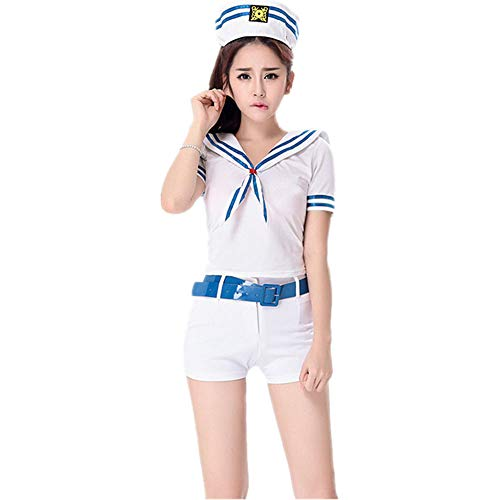 Navy Kostüm Sexy Girl - YCWY Captain Sailor Kostüm, Retro weiß-blau Damen Sexy Sailor Kostüm Navy Sailor Girl Uniform perfekt für Cosplay und Karneval 4 Stück,XL