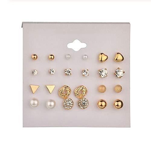 XINYANG Herz Blumen Infinite Symbol Ohrstecker Set Strass Imitation Perle Ohrringe für Frauen Geschenk,05
