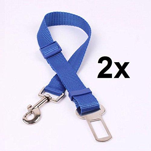 Auto-Sicherheitsgurt Hund Katze, 2er Set Anschnallgurt Adapter, verstellbar 48 bis 70 cm, Farbe Blau