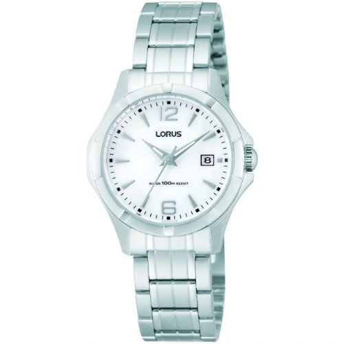 Lorus Watches Ladies All Silver Classic Date Watch With Mother Of Pearl Dial