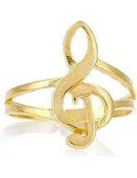 Córdoba Jewels | Anillo en plata de ley 925 bañada en oro. Diseño Clave de Sol Oro