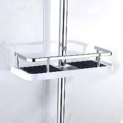Fontic ABS Plastique Réglable Étagère de Douche Télescopique, Organiseur de salle de bain Porte-Savon pour Ranger Shampooing Savon, Montage Sans Perçage pour 19mm-25mm